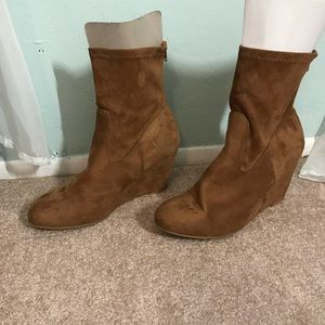 Faux Suede Wedge Booties